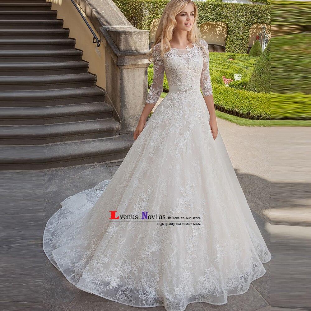vestido novia blanco Women Bride Dresses Luxury Beaded Lace Wedding Dresses with Sleeves Sexy Bohemian Wedding