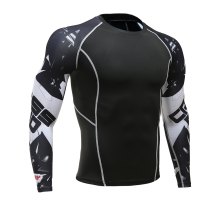 Футболка с 3D принтом волка, компрессионные колготки, Мужская футболка для фитнеса, бега, дышащая спортивная одежда с длинным рукавом, Рашгард, одежда для велоспорта