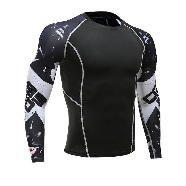 זאב 3D מודפס חולצה דחיסת גרביונים גברים כושר ריצה חולצה לנשימה ארוך שרוול ספורט Rashgard חדר כושר רכיבה על אופניים בגדים