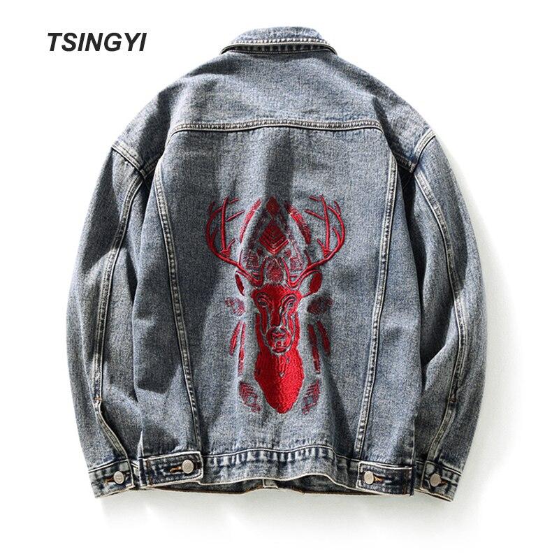 Tsingyi Embroidery Deer Retro Vintage Washed Denim Jacket Men Turn-down Collar Long Sleeve Jeans Jacket Men Bomber Mens Coats