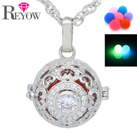 Aromatherapy Jewelry Glow In The Dark Beads Full Crystal Heart Hollow Locket Cage Pendant Essential Oil