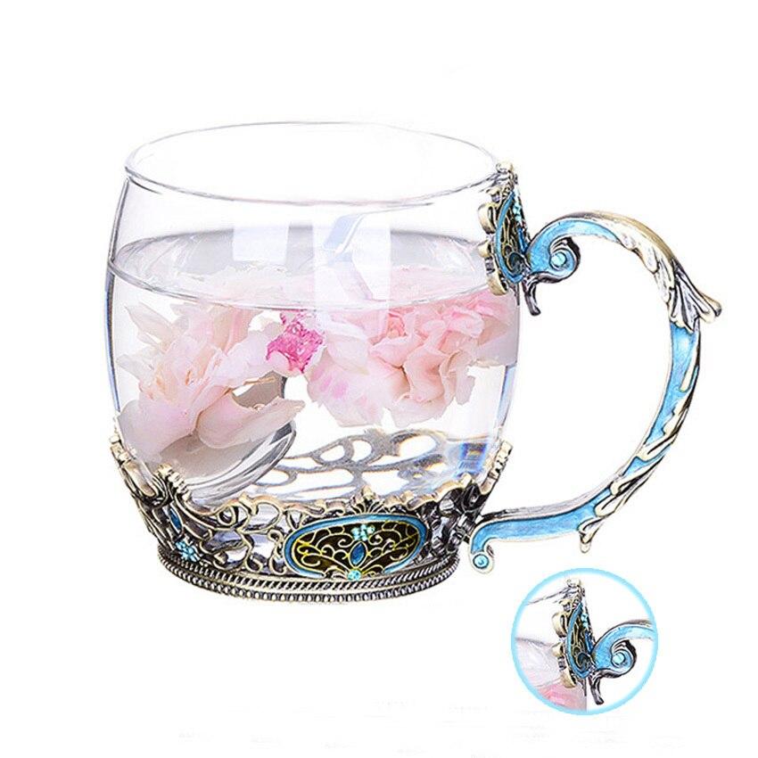 GFHGSD Creative Vintage Enamel Crystal Cup Flower Tea High-grade Hand Painted Glass Water Cup Flower Mug Handle Single mug