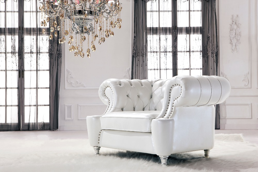 A comfortable and leisurely living room real genuine leather sofa chair 1 seater postmodern with crystal buttons leisure chair