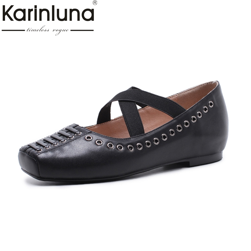 KarinLuna 2018 Spring Autumn Genuine Leather Large Size 33-42 Leisure Ballet Flats Woman Comfortable Square Toe Women Shoes meotina shoes women genuine leather flats d orsay strap shoes pointed toe autumn casual flats yellow green large size 9 41 42