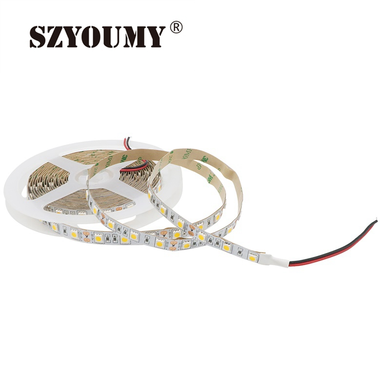 SZYOUMY Non-Waterproof IP20 Yellow(Amber) color 5M 300LEDs 5050 SMD LED strip 60LEDs/M Flexible Lamp DC 12V Free Shipping
