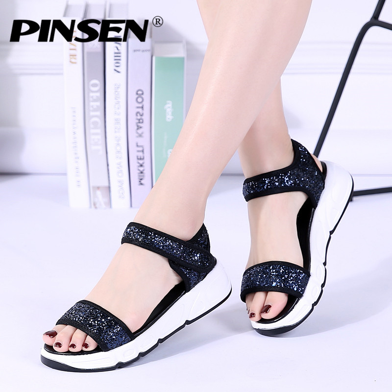 PINSEN Women Sandals Shoes Thick Sole Sequined Cloth Flat Platform Beach Sandals Women Gladiator Sandals Ladies Summer Shoes fashion thick sole platform real cow leather upper pigskin liner women 2017 summer flat heel sandals lady opentoe flats shoes