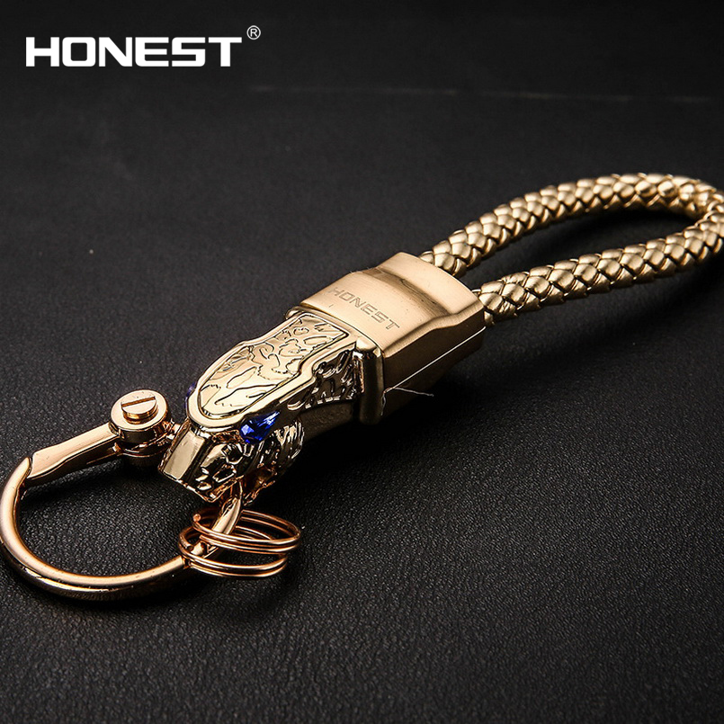 Brand HONEST High Grade Men Key Chain Keychains Rhinestones Car Key Ring Holder Jewelry Bag Pendant Gift Genuine Leather Rope