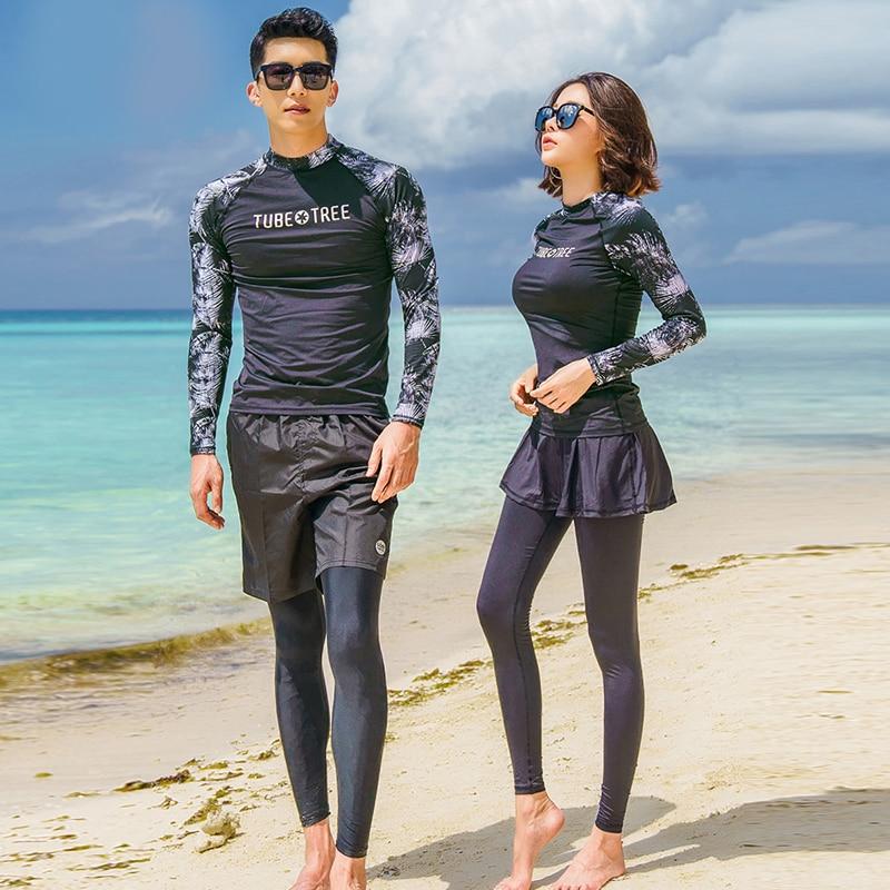 Rash Guards Men Women 3 Pieces Long Sleeve Shirt Shorts Pants Couples Swimwear Surfing Bathing Suits