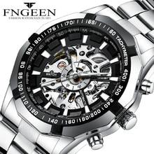 FNGEEN Men's Mechanical Self Wind Watches Watch Men Luxury Waterproof Hollow Perspective Movement  Automatic Watch Men Steel