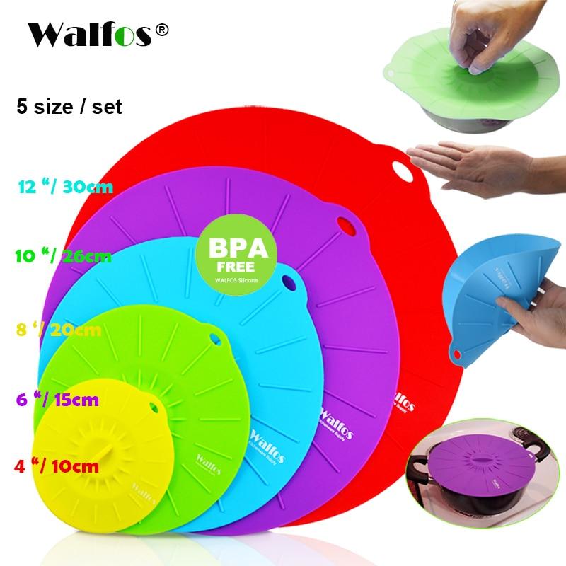 WALFOS Set di 5 coperchi di silicone per microonde coperchio per pentola coperchio per coperchio Coperchio in silicone per alimenti per alimenti utensili da cucina