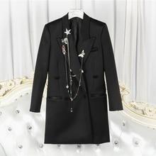 [SHENGPALAE] High Quality 2018 Autumn Black Stars Badgess Chains Decoration Mid Long Section Suit Coat Fashion New Women's LA410