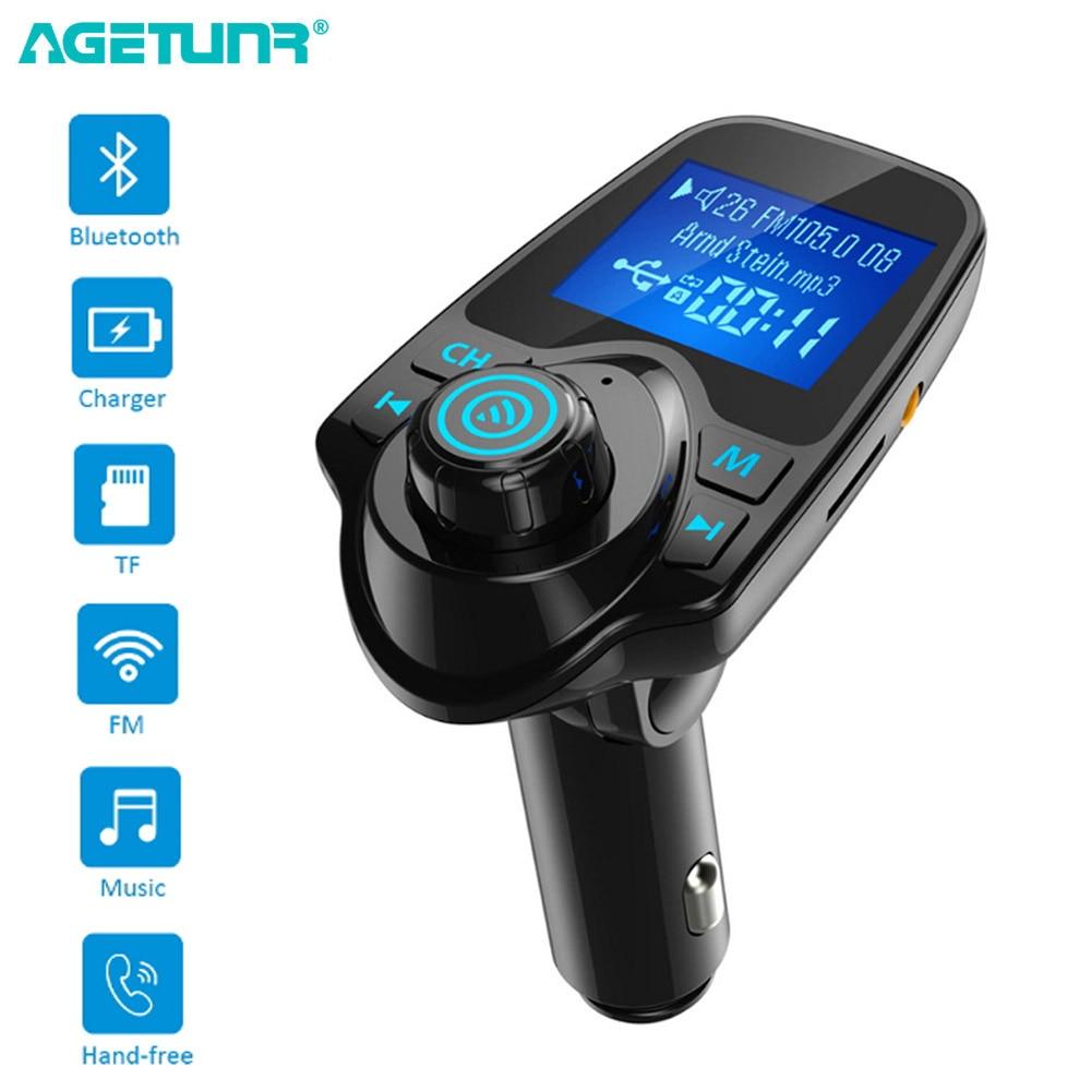 AGETUNR T11 Bluetooth Car Kit Handsfree Set MP3 Player FM Transmitter Dual USB Car Charger 5V 2.1A Support TF Card & U Disk