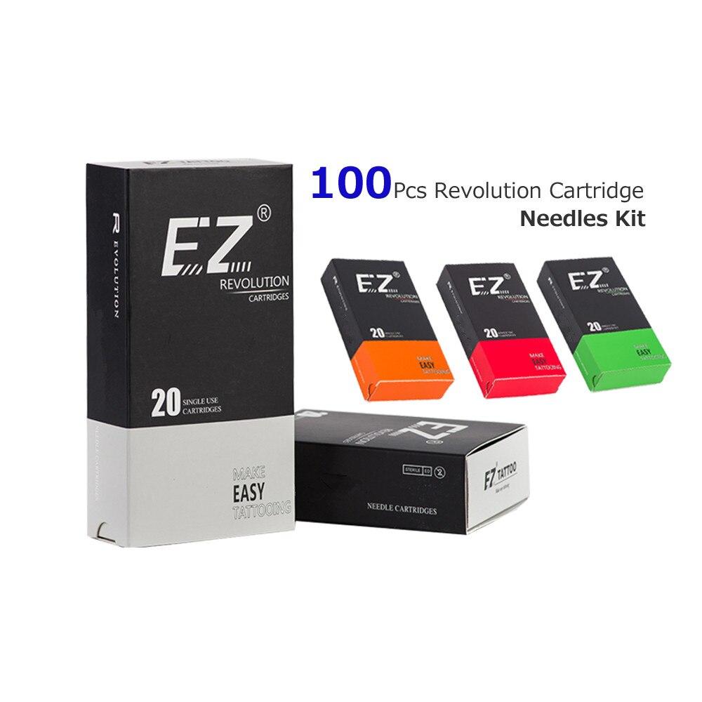 100 pièces Assorties EZ Révolution aiguille tatouage Cartouche Liner Shader Magnum Tattoo Supply compatible avec Cartouche Machine Grip