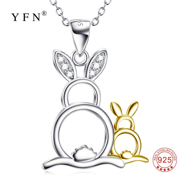 Aliexpress buy gnx10057 yfn 925 sterling silver lovely gnx10057 yfn 925 sterling silver lovely necklace cute rabbit mother child pendants necklaces luxury jewelry aloadofball Image collections