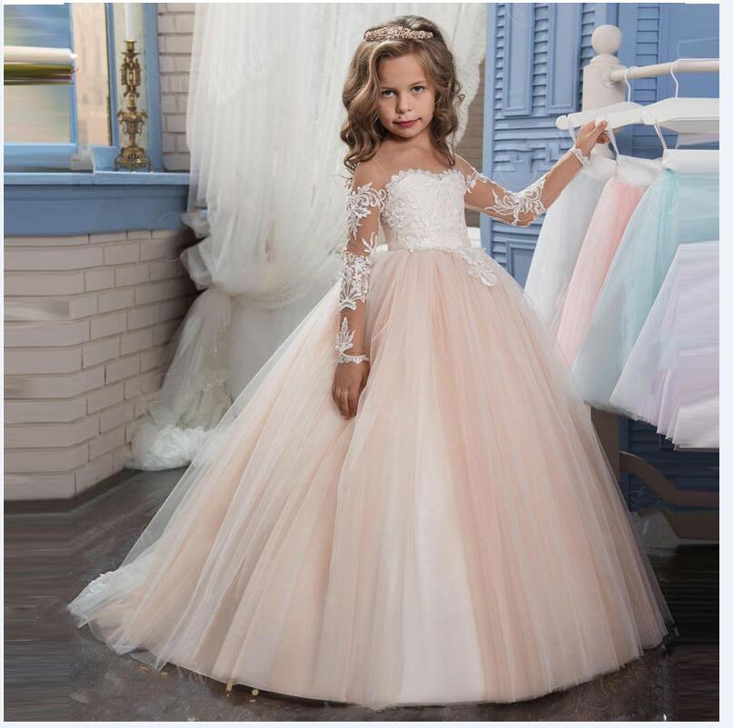 Long sleeve flower girl dresses for wedding mermaid for Matching wedding and flower girl dresses