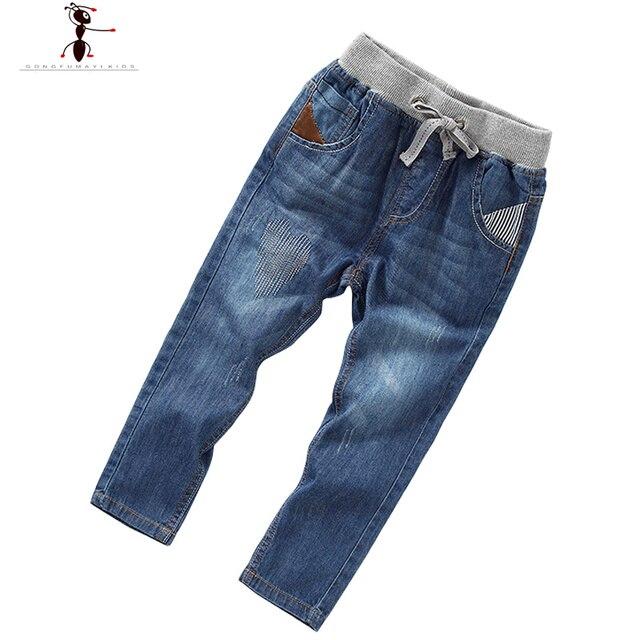 333531df9 New Arrival Denim Boys Children Kids Straight Elastic Waist Pants Trousers  Cool Jeans Childhood 2398