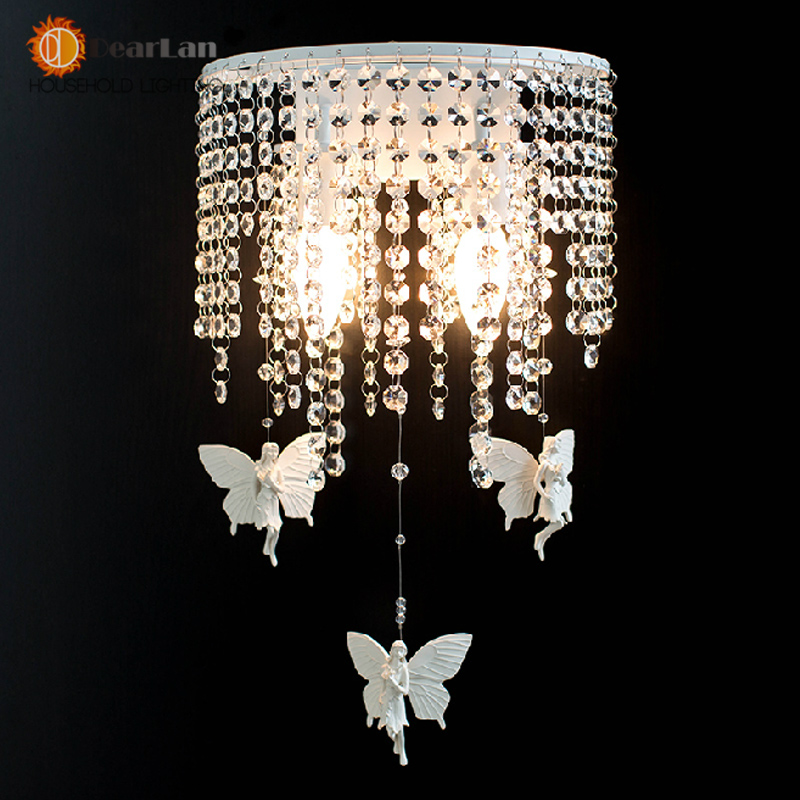 Crystal Wall Lamp   White Wrought Iron Resin Angel / Crystal Lamp Modern Minimalist Dining Room Bedside Wall Sconce