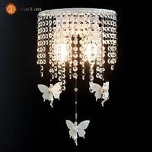 Кристалл бра белый кованого железа смолаы ангел / кристалл современный минималистский столовая ночной настенные бра