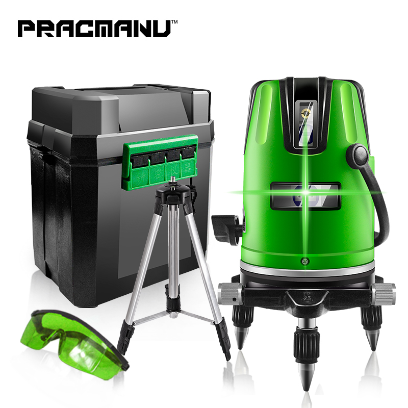 PRACMANU 5 Lines 6 Points Green/Red Laser Level Automatic Self Leveling 360 Vertical&Horizontal Tilt Degrees Rotary Outdoor Mode