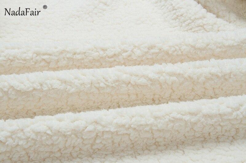 Nadafair plus size fleece faux fur jacket coat women winter pockets thicken teddy coat female plush overcoat casual outerwear 24