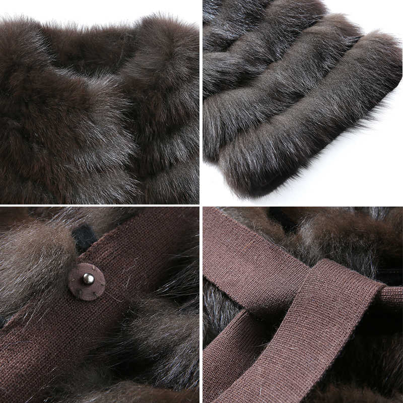 HDHOHR 2019 Hohe Qualität Lange Fuchs Pelzmantel Frauen Winter Natur Fuchs Jacken 100% Echt Pelz Mantel Mit Gürtel Fishion luxus Outwear