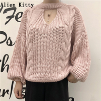 Alien Kitty 2018 Autumn Sweet Long Sleeve Knitted Pullover Sweater Women Casual Hollow Out Femme Japanese Style Solid Sweater