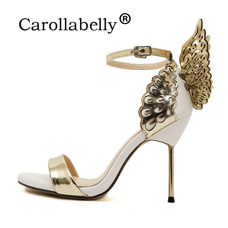 Carollabelly 2018 Sweet High Heels Butterfly Heel Women Pumps Women Sandals Sexy Wedding Party Shoes Big Size Shoes 10cm Heel