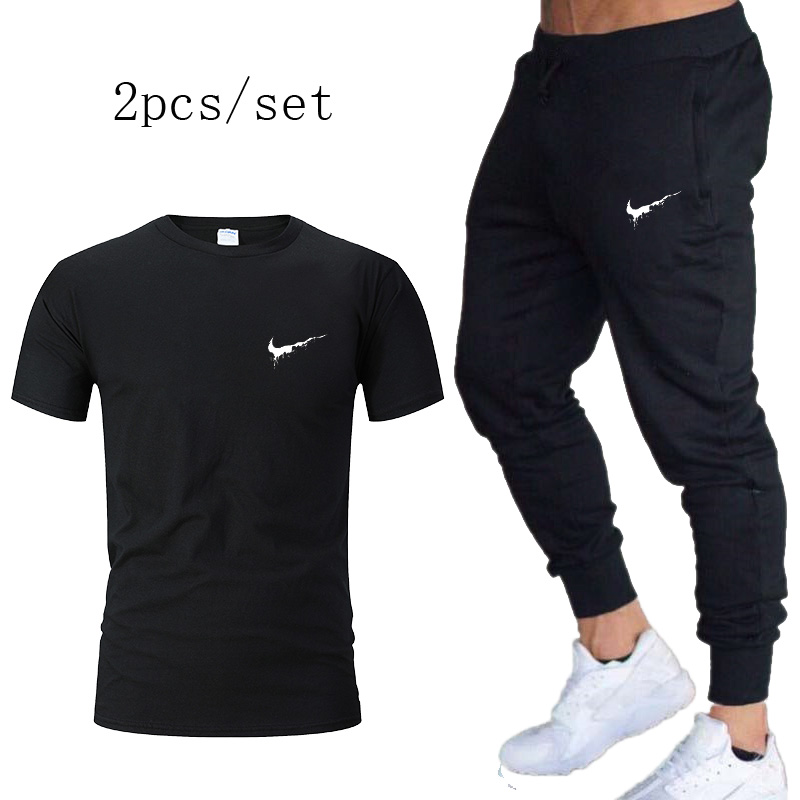 Jogging Pants Men GYM Training Pants Sportswear Jog Sports Pants+T Shirt Men Running Swearing Football Pant Joggers Sweatpants