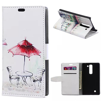 Luxury Red Umbrella Table Chair Leather Credit Card Wallet Flip Cover Case For LG Magna C90
