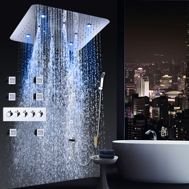 Bathroom Shower Faucet Set Ceiling LED Square Showerhead Colour Changing Hot and Cold Shower Tap Rain Sprayer Massages