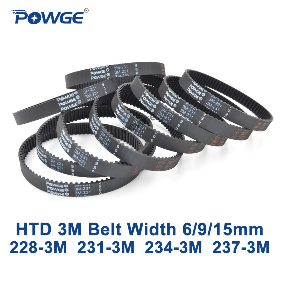 POWGE Arc HTD 3M Timing belt C= 228 231 234 237 width 6/9/15mm Teeth 76 77 78 79 HTD3M synchronous 228-3M 231-3M 234-3M 237-3M 3m  234 30mmx55m  general purpose