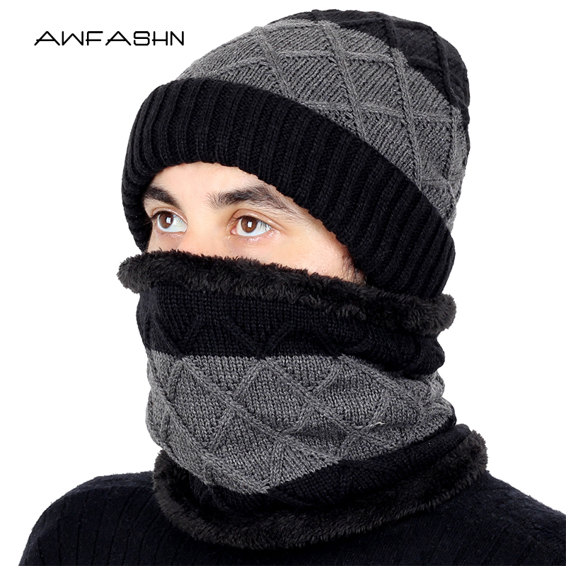 2019 New Outdoor Brand Knitting Beanie Hat Scarf Men's Winter Plaid Plus Velvet Scarf Thicken Hedging Cap Scarves Warm Ski Bone