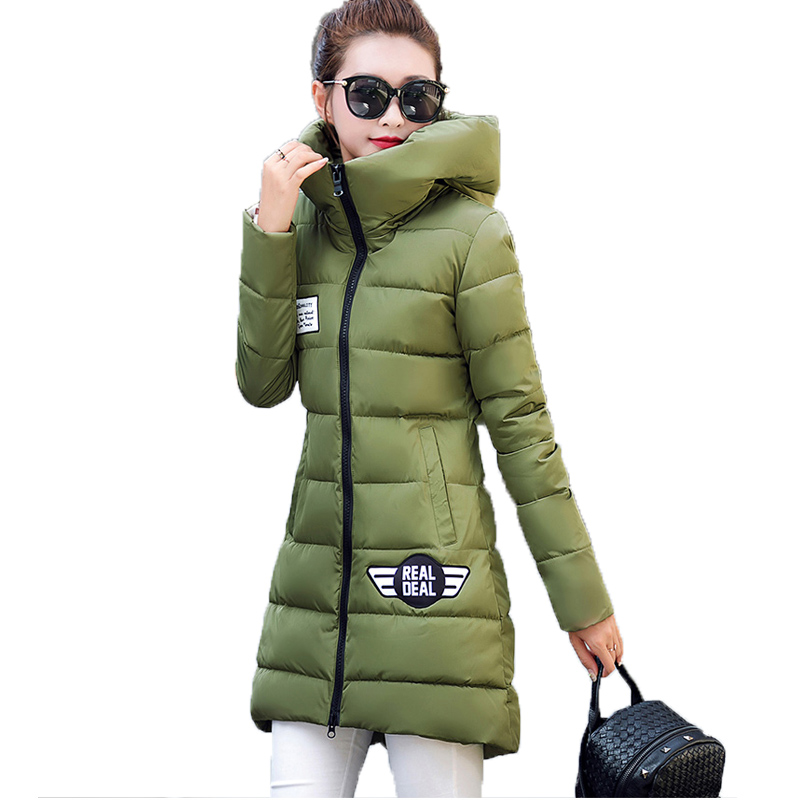 Medium Long Woman Winter Coats And Jackets Casaco Inverno 2017 New Slim Long Sleeved Hooded Casual Black Padded Parka Feminino