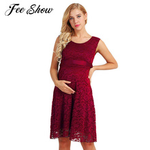 c11a109d681 New Maternity Dress Elegant Floral Lace Overlay Maternity Dress for  Pregnancy Summer Sleeveless Nursing Clothes with