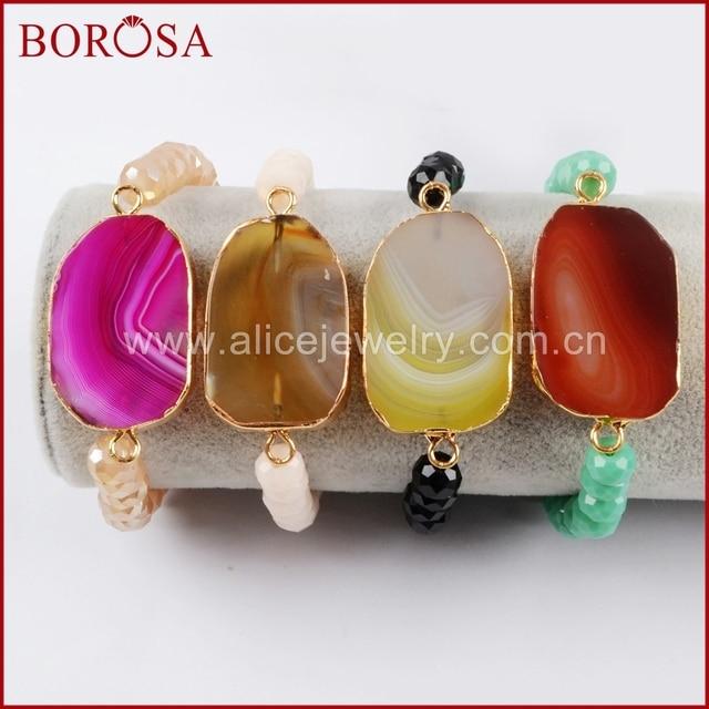 BOROSA 10 pièces couleur or arc-en-ciel Onyx pierre tranche avec cristal et perles de verre Bracelets, Drusy couleurs mélangées gemmes Bracelet G1478