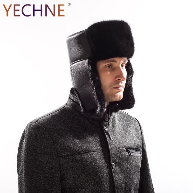 YECHNE Bomber-Cap Earflap Outside-Hat Mink-Fur Female Winter Luxury Genuine Fashion Man