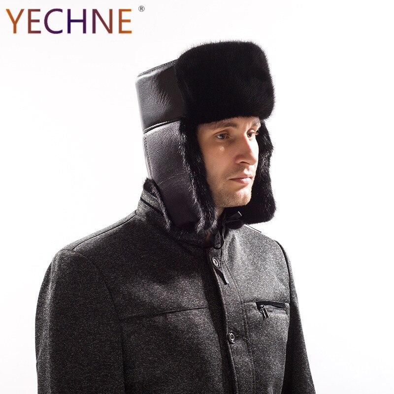 YECHNE кожаная мужская зимняя мода из натуральной норки Мех животных Роскошные Earflap Bomber кепки женские теплые снаружи шляпа