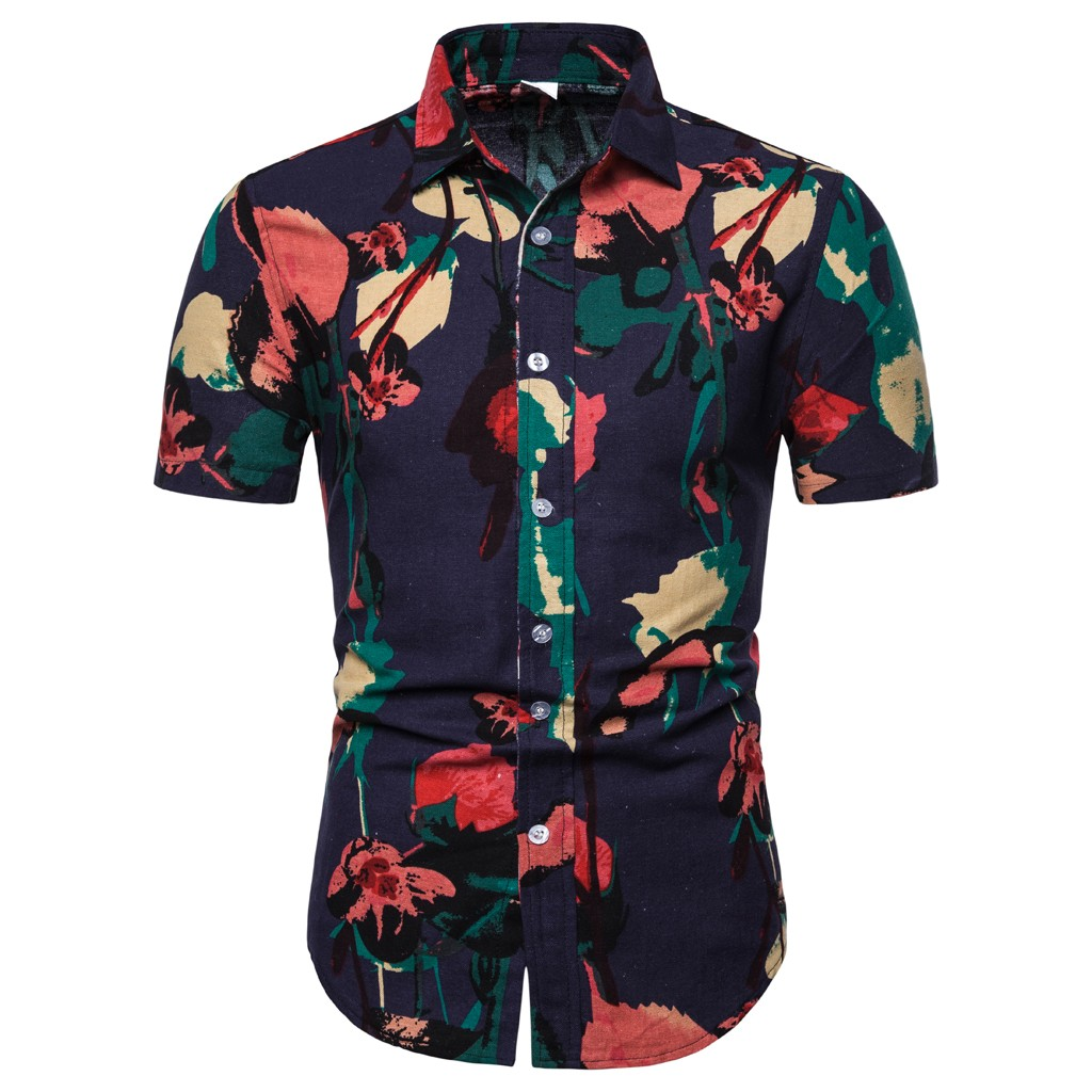 2019 Men Print Floral Turn-down Collar Short Sleeve Top Shirt Blouse Hawaiian Camisa Masculina Camisas Hombre Chemise Homme