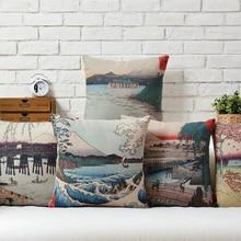 Japanese Print Cotton Linen Pillowcase Creative Fuji and Sea Wave Decorative Pillow Home Decor Sofa Throw Pillow Cushion 45*45 beach wave print linen sofa pillowcase