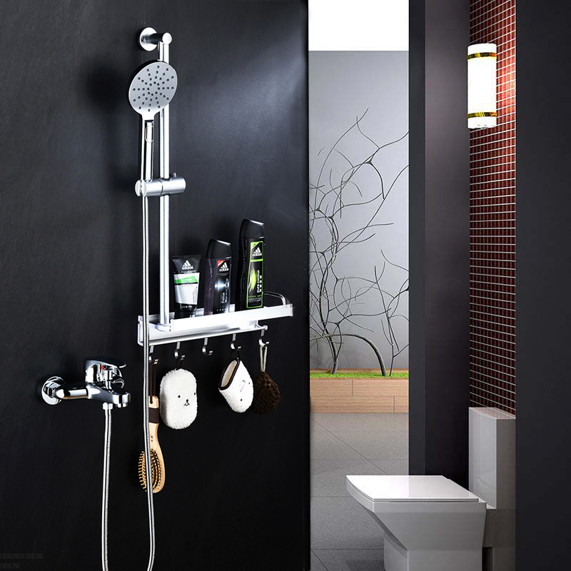 Chrome Bathroom Shower Faucet set Simple Rain Shower Set Brass Tub Mixer Faucet Wall Mounted Tap With Storage Shelf Hooks