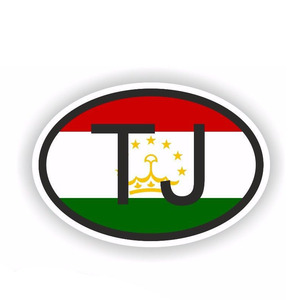 Image 2 - YJZT 12.2CM*8.1CM Car Sticker Country Code TAJIKISTAN Small Oval Car Styling 6 0509
