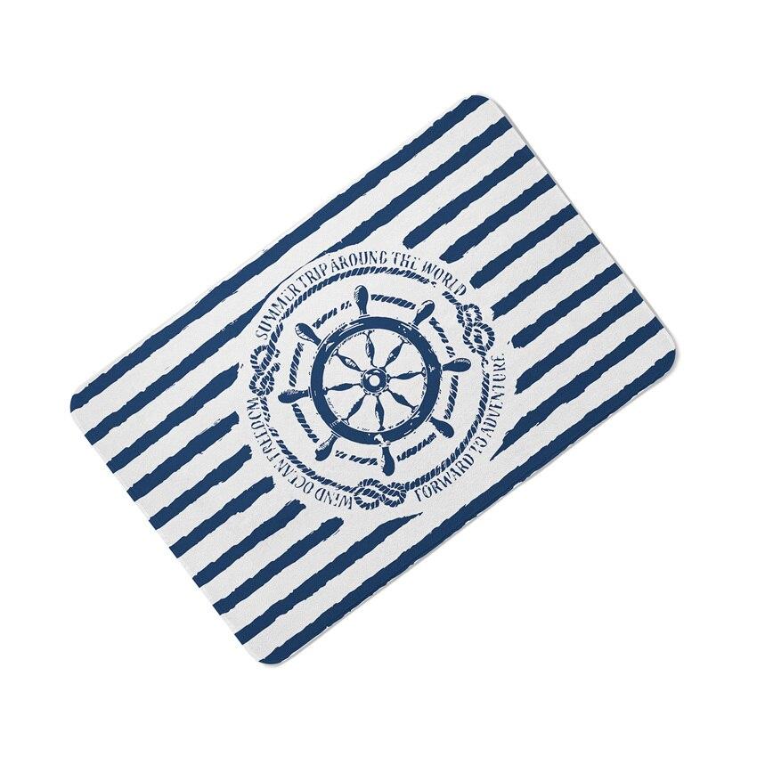 Classica Della Banda Della Banda Marina Cuscini Tappetino Mediterraneo Navy Blue Anchor Ship Timone Bussola per la Casa Almofadas 40X60 CM