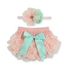 В году, кружевной комплект для новорожденных: штанишки для подгузников и повязка на голову гофрированные трусики для маленьких девочек шорты с цветочным рисунком для малышей