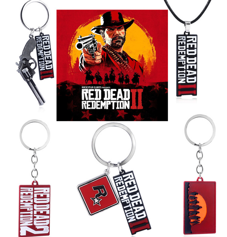 Game Red Dead Redemption 2 Keychain The Walking Dead Metal Pendant Keyrings 3D Gun Toy Chaveiro Men Necklace Souvenir Cosplay