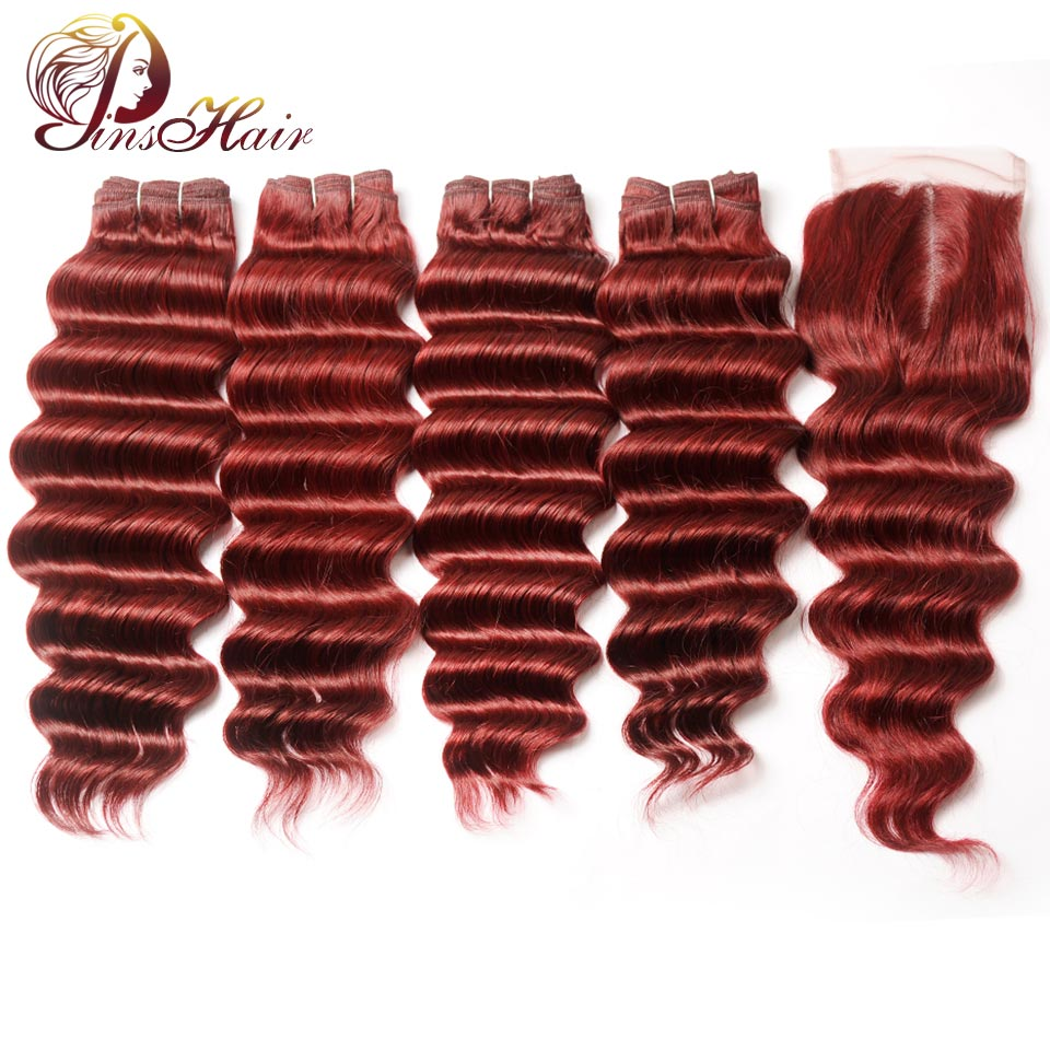 Pinshair Burgundy 99J Brazilian Loose Deep Wave Hair 4 Bundles With Closure Bold Red Human Hair Weave Lace Closure Non Remy Hair
