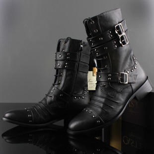 69812a73eed Men Motorcycle Boots Fashion Winter Men Vintage Combat Army Punk Goth Shoes  Men Biker Genuine Leather Short Snow Boots-in Mid-Calf Boots from Shoes on  ...