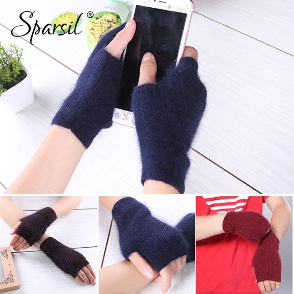 Women Winter Mink Cashmere Knit Short Gloves Half Finger Wrist Warmer 16Cm Knit Mittens,03 Red,One Size