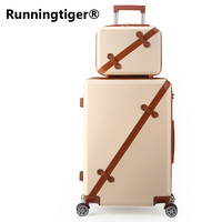 Retro wheel suitcase 202428inch women's trolley case men's business PC + ABS hard shell luggage boarding