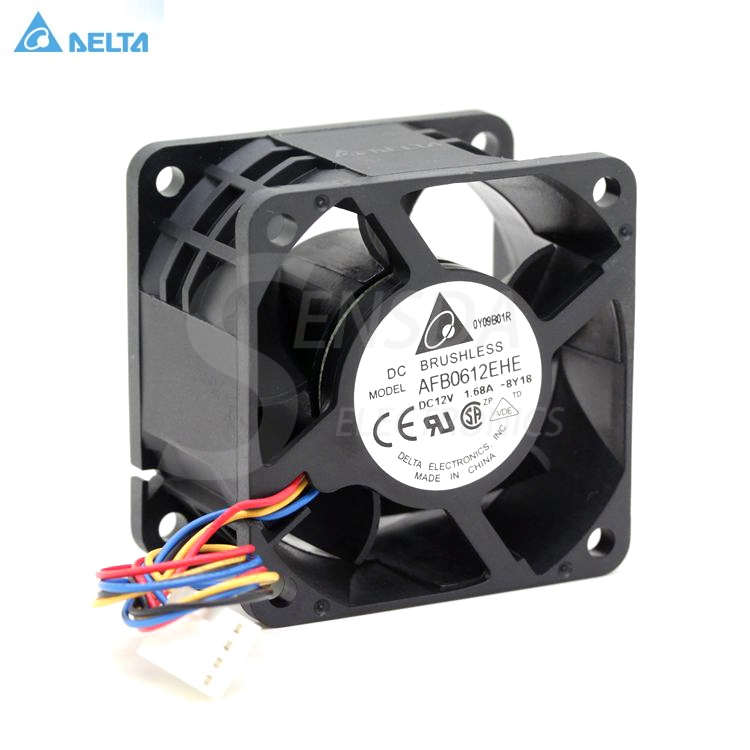 Delta AFB0612EHE DC12V 1.68A 60*60*38 four-wire support PWM axial violence cooling fan original delta tfc1212de 12cm 12038 12v 3 9a 252cfm winds of booster pwm fan violence for bitcoin miner super cooling