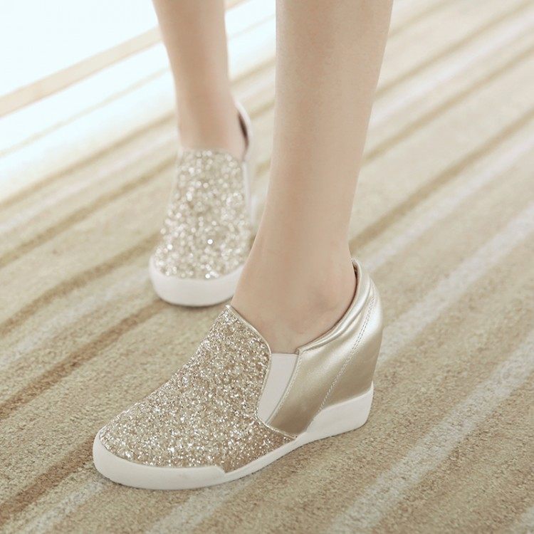 Korean style single shoes round toes slip paillette increased within gold silver black casual women's loafers160114-10 - Online Shoes Shop store